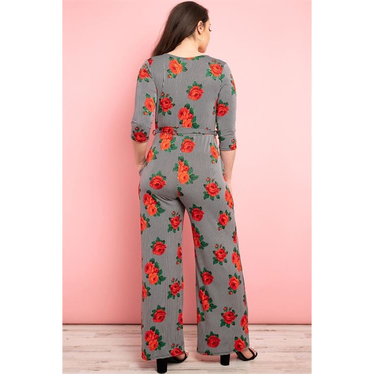 Roses And Stripes Plus Jumpsuit - OUTFITS