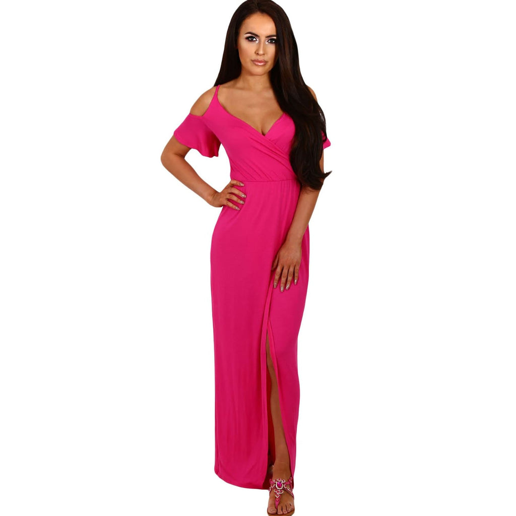 Rosy Cold Shoulder Jersey Maxi Dress - Best YOU by HTS
