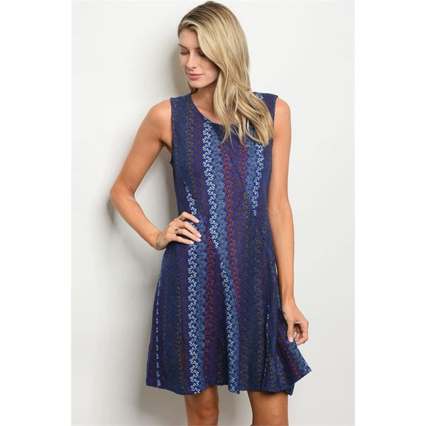 Royal Blue Multi-color Dress - DRESSES