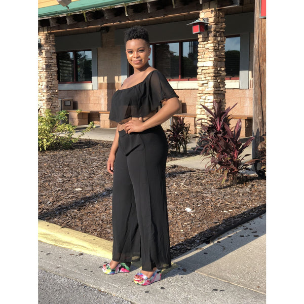Ruffle Crop Top & Wide Leg Pants Set - Black - Best YOU by HTS