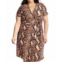 Snake Print Wrap Dress Plus - DRESSES