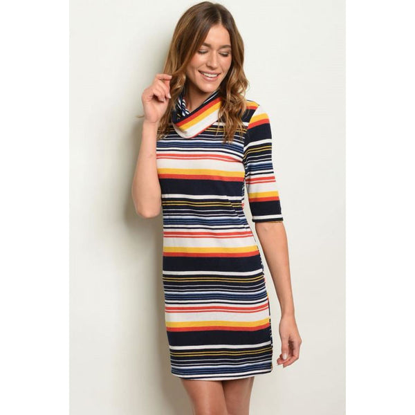 Striped Pencil Dress - DRESSES