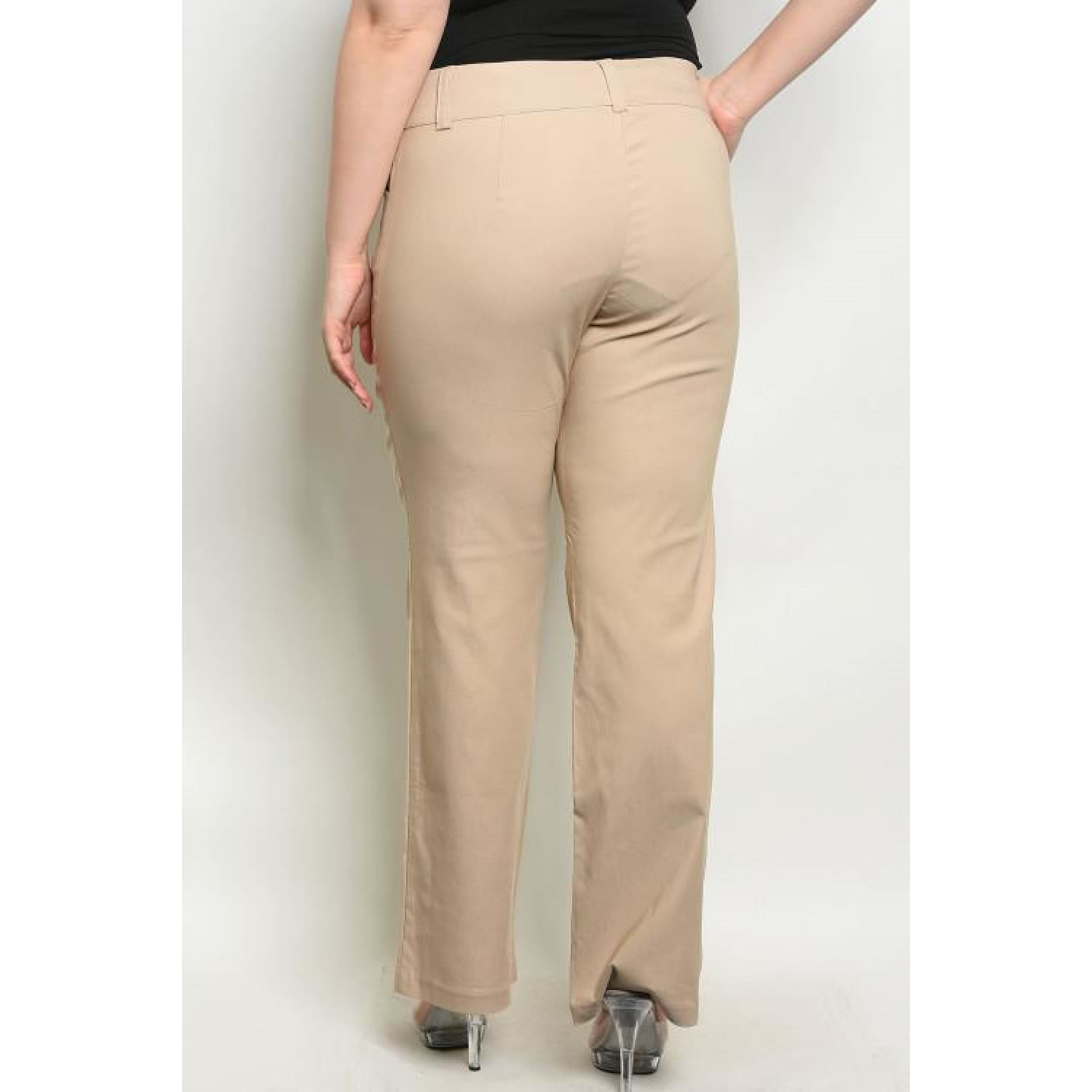 Tan Button Up Pants Plus - Best YOU by HTS