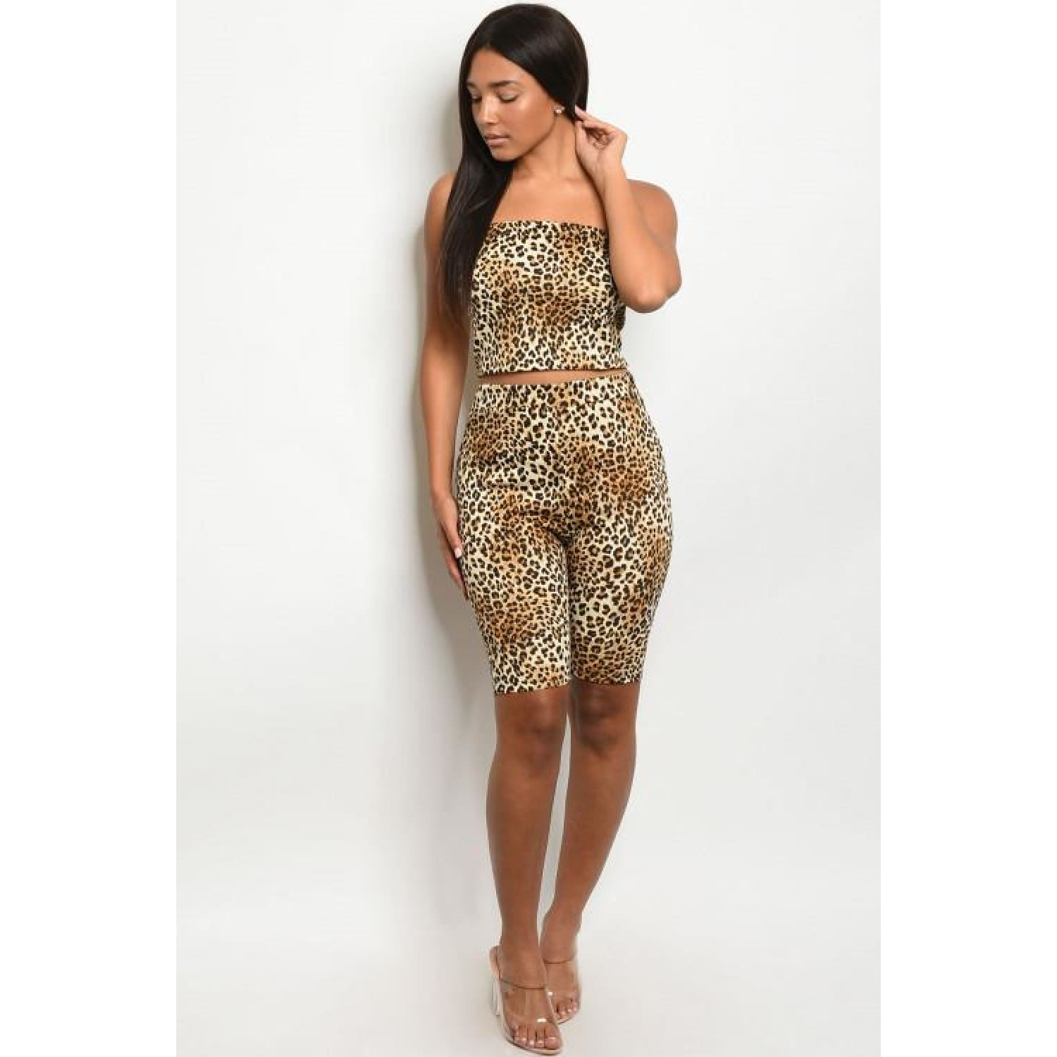 Taupe Leopard Animal Print Set - OUTFITS