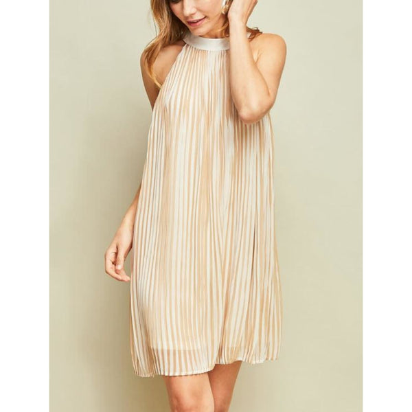 Taupe Stripes Dress - DRESSES