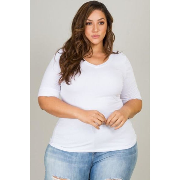 White Curvaceous Plus Size Tee Top - Best YOU by HTS