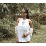 White Lace Detail Oversleeve Tank Top - TOPS