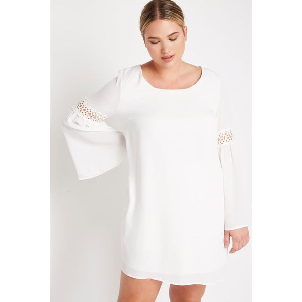 White Plus Mini Chiffon Dress