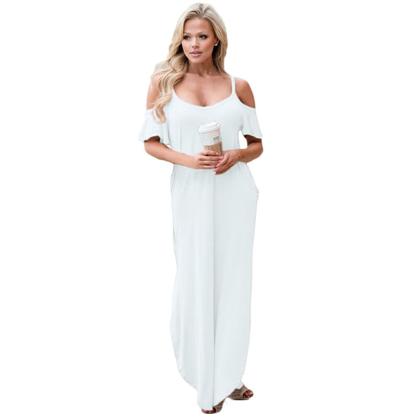 White Sassy Open Shoulder Maxi Dress - Best YOU by HTS