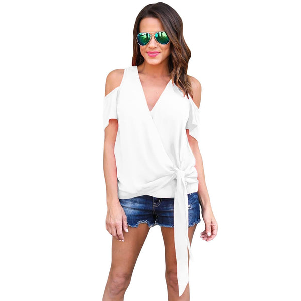 White Wrap Open Shoulder Top - Best YOU by HTS