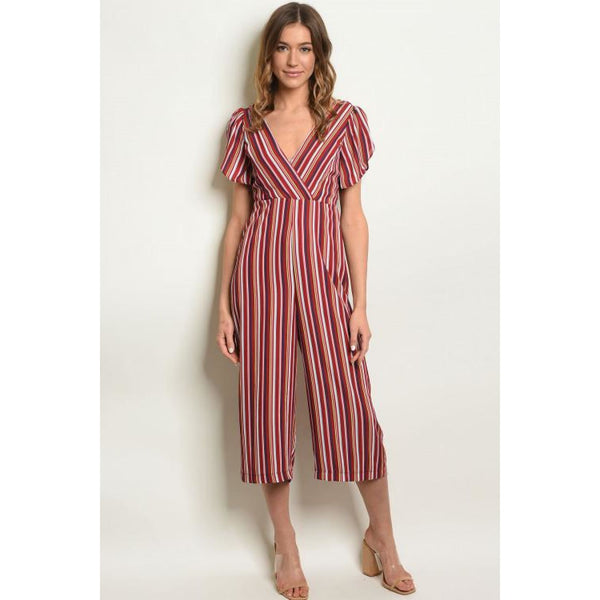 Wine Stripes with Back Bow Jumpsuit - Best YOU by HTS