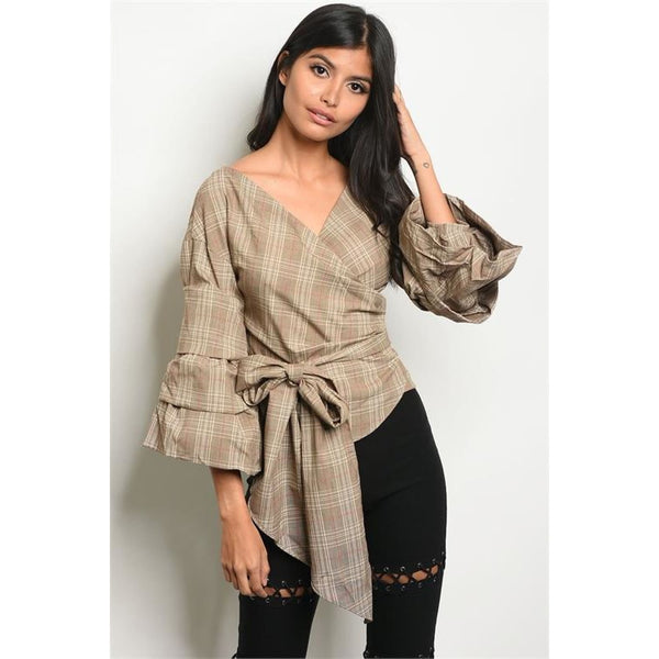 Wrap Blouse with Bow- Taupe Checkered - Best YOU by HTS