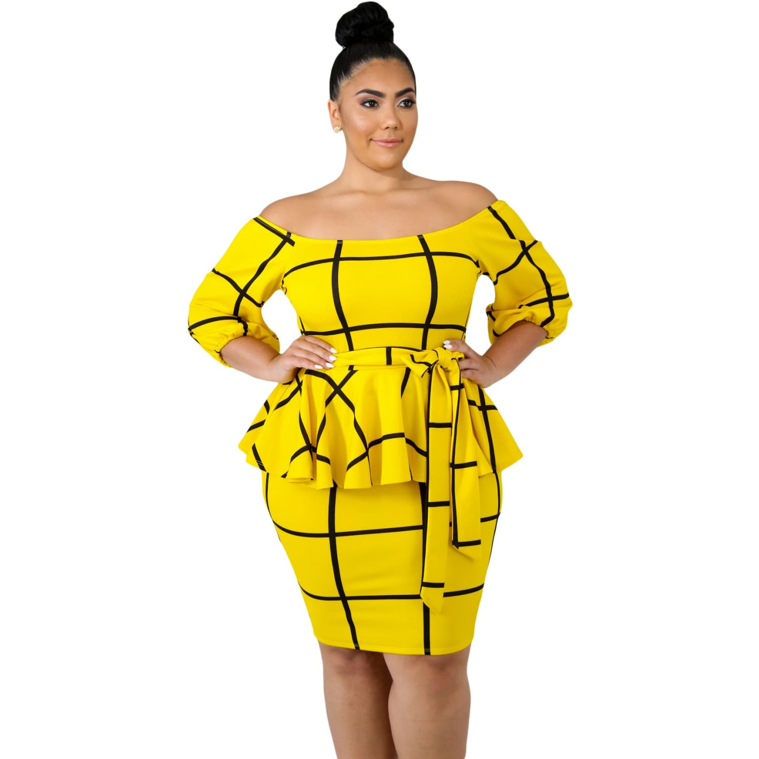 Yellow Checkered Peplum Plus Size Dress