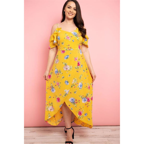 Yellow Floral Asymmetrical Plus Size Dress - DRESSES