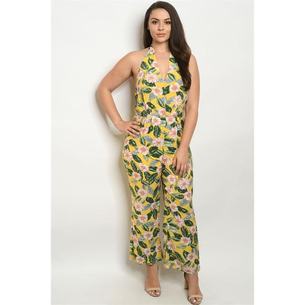 Yellow Floral Plus Jumpsuit - OUTFITS