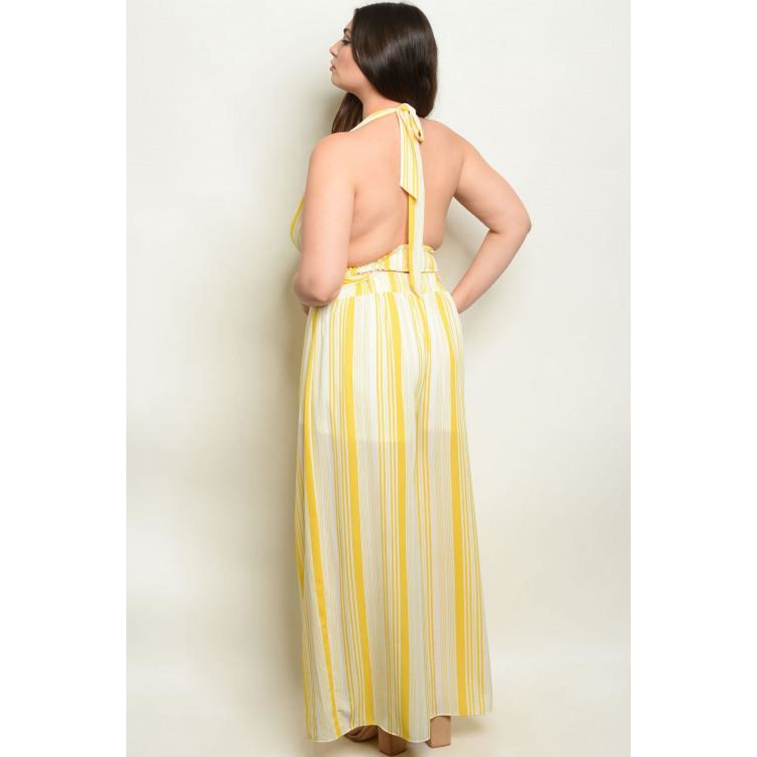 Yellow Stripes Plus Pants Set - Best YOU by HTS
