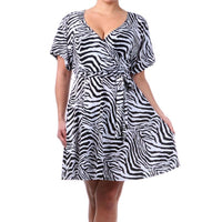 Zebra Print Wrap Dress Plus - DRESSES