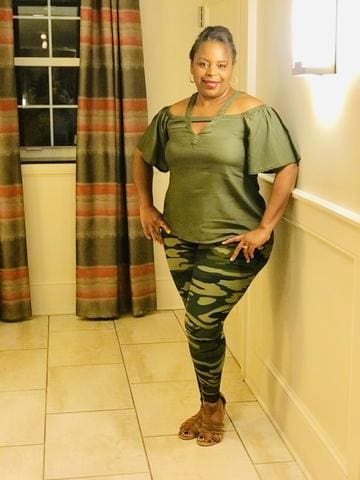 Olive Top and Camouflage Leggings