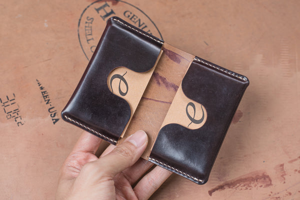 Horween Shell Cordovan Color No.8 Leather Folded Business Card Holder