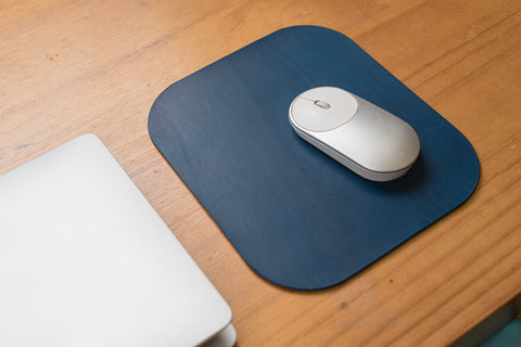 12 COLORS - Navy Blue Buttero Leather Mouse Pad