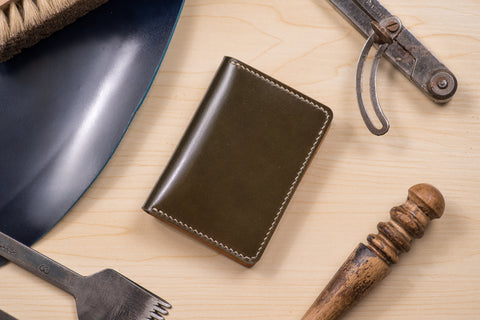 7 COLORS- Olive Green Shell Cordovan & Natural Leather 4-Slot Vertical Card Wallet