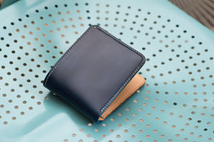 7 COLORS - Navy Blue Shell Cordovan & Natural Leather 6-Slot Two-tone Billfold Wallet