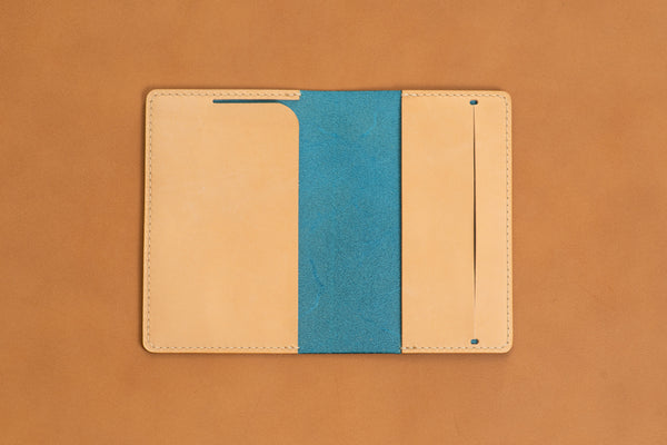 Customizable - Navy Blue/Natural Buttero Moleskine Classic Notebook Leather Cover - Eternal Leather Goods