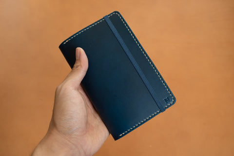 Customizable - Navy Blue/Natural Buttero Moleskine Classic Notebook Leather Cover