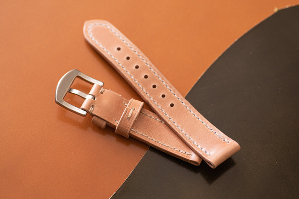 Natural Shell Cordovan Leather Tapered Basic Watch Strap (18, 20, 22 and 24 mm)