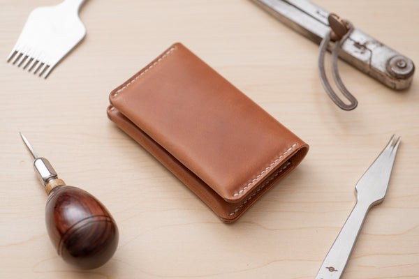 Natural Horween Shell Cordovan Leather Folded Business Card Holder