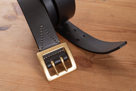 5 COLORS - Black Vegetable-tanned Leather Stitched Double Garrison Belt (1.5 inch, 38 mm wide)