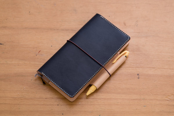 Black Hobonichi Weeks (Mega) Leather Cover with Elastic Closure - Eternal Leather Goods
