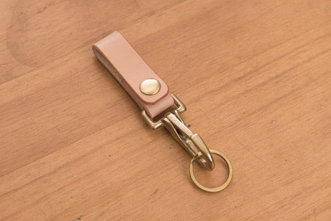 Natural Key holder / Belt Loop with Solid Brass Hardware and snap