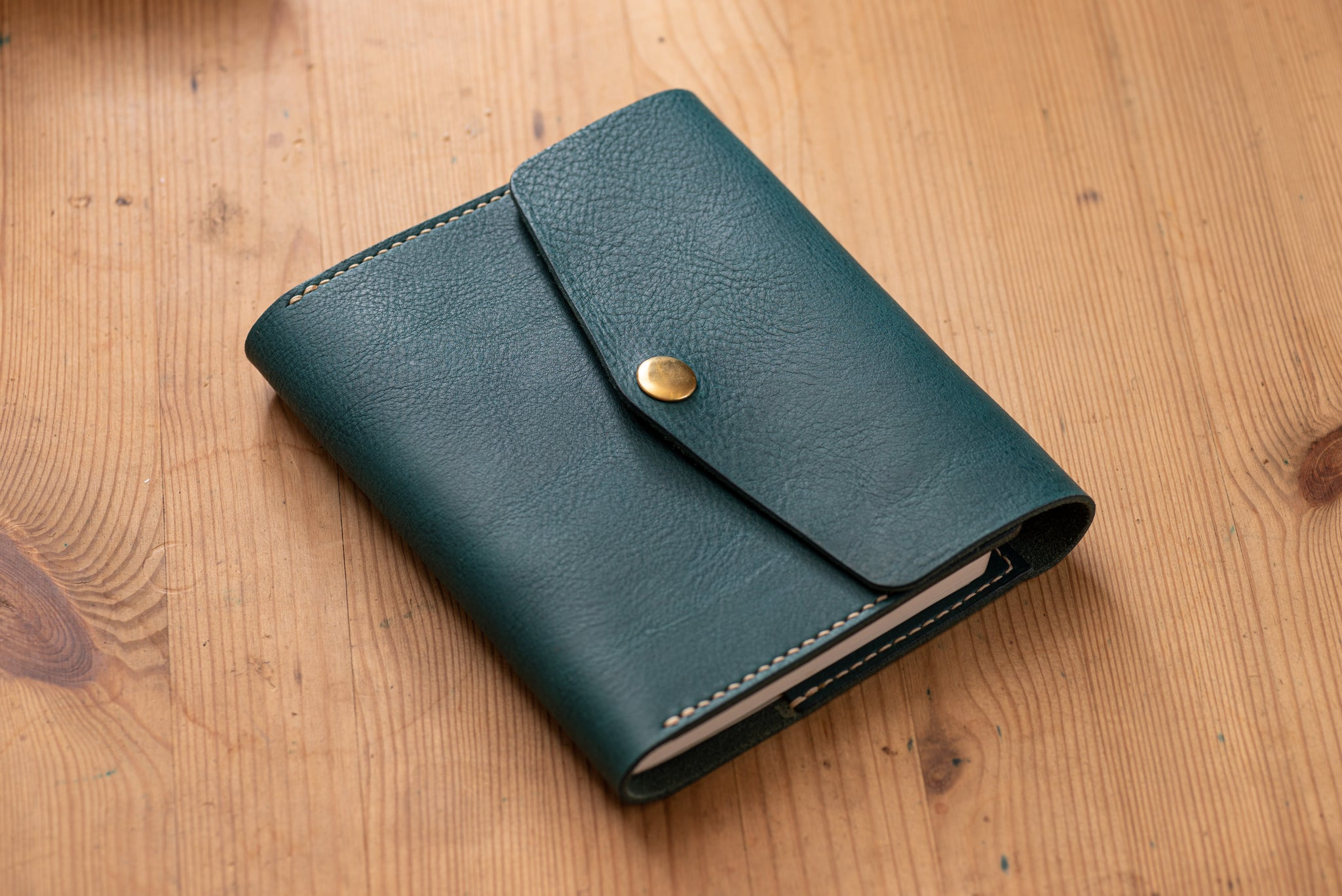 6 COLORS - A6/Hobonichi/Midori MD Navy Blue Trifold Pebbled Leather Notebook Cover - Eternal Leather Goods
