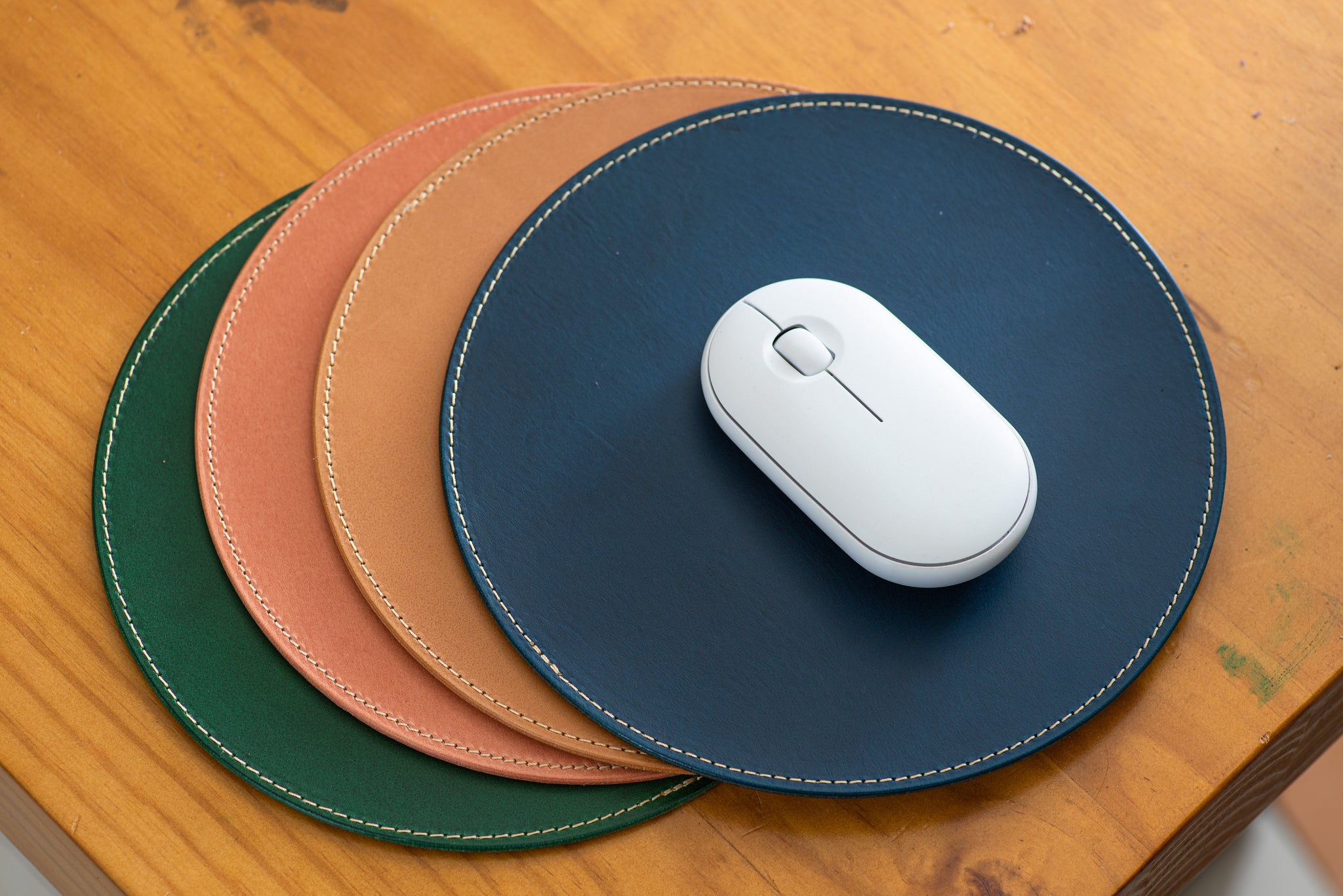 12 COLORS - Stitched Round Buttero Leather Mouse Pad