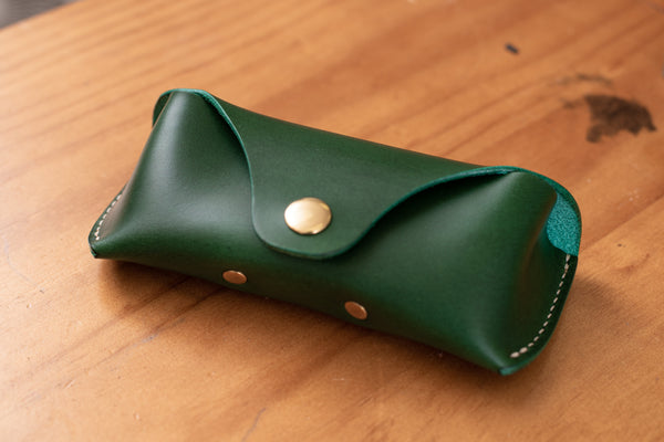 12 COLORS - Green Buttero Leather Sunglasses and Glasses Case