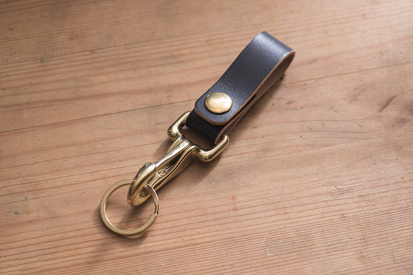 Black Leather Key holder / Belt Loop with Solid Brass Hardware and snap