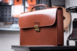 Brown English Bridle Leather Briefcase - Eternal Leather Goods