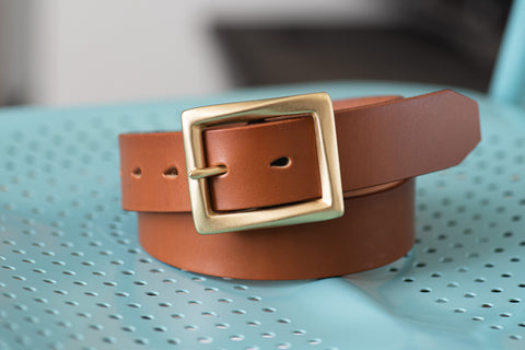 CUSTOMIZABLE - 5 COLORS Unisex Brown Vegetable-tanned Leather Garrison Belt (~1.3 inch, 34 mm wide)