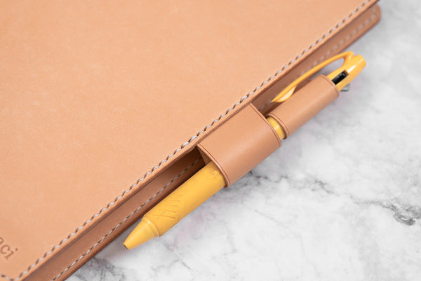A5/Hobonichi Cousin/Seven Seas Natural Leather Interlocking Pen Loop closure Notebook Cover with card pockets