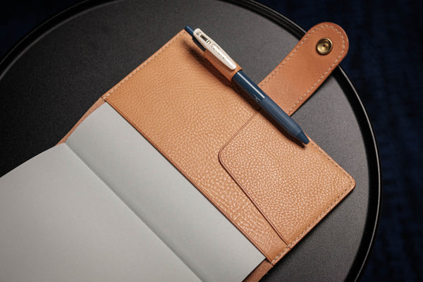 6 COLORS - B6/Stalogy Natural Snap Closure Pebbled Leather Notebook Cover