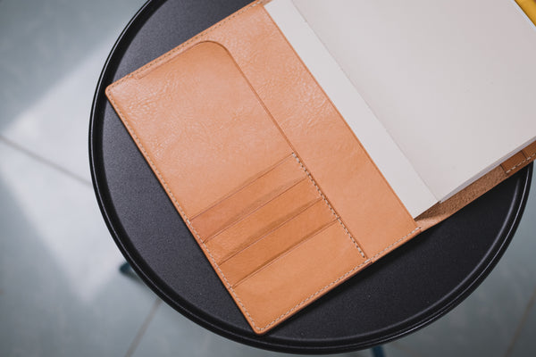 6 COLORS - A5/Hobonichi/Midori MD Natural Snap Closure Pebbled Leather Notebook Cover