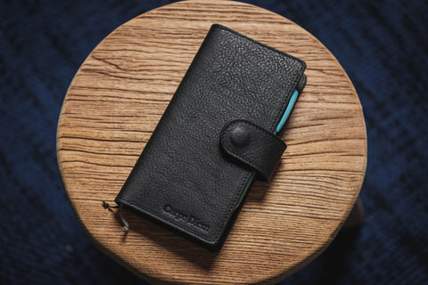 6 COLORS - Hobonichi Weeks Snap Closure Black Pebbled Leather Notebook Cover