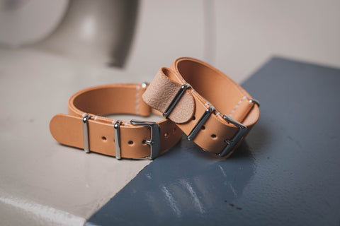 Natural Vegetable-tanned Leather Nato Strap (16, 18, 20, 22 & 24mm Wide)