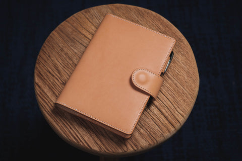 6 COLORS - B6/Stalogy Natural Snap Closure Vegetable-tanned Leather Notebook Cover