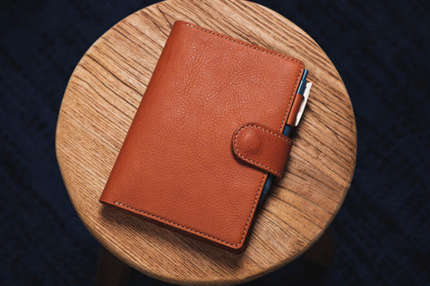 6 COLORS - B6/Stalogy Orange-brown Snap Closure Pebbled Leather Notebook Cover with Card Slots