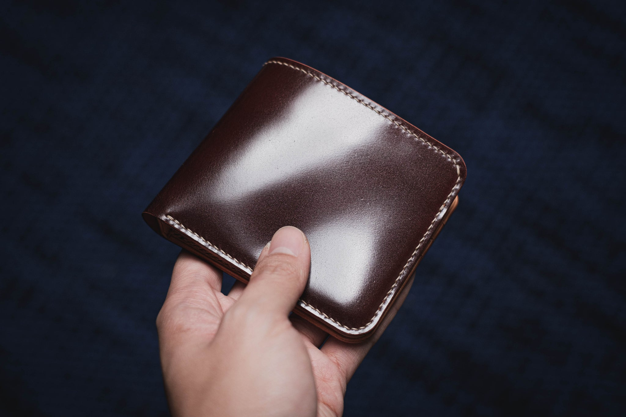 7 COLORS - 6-Slot Burgundy Shell Cordovan & Natural Leather Billfold Wallet