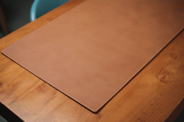 13 COLORS - Stitched Caramel Buttero Leather Desk / Keyboard & Mouse Pad