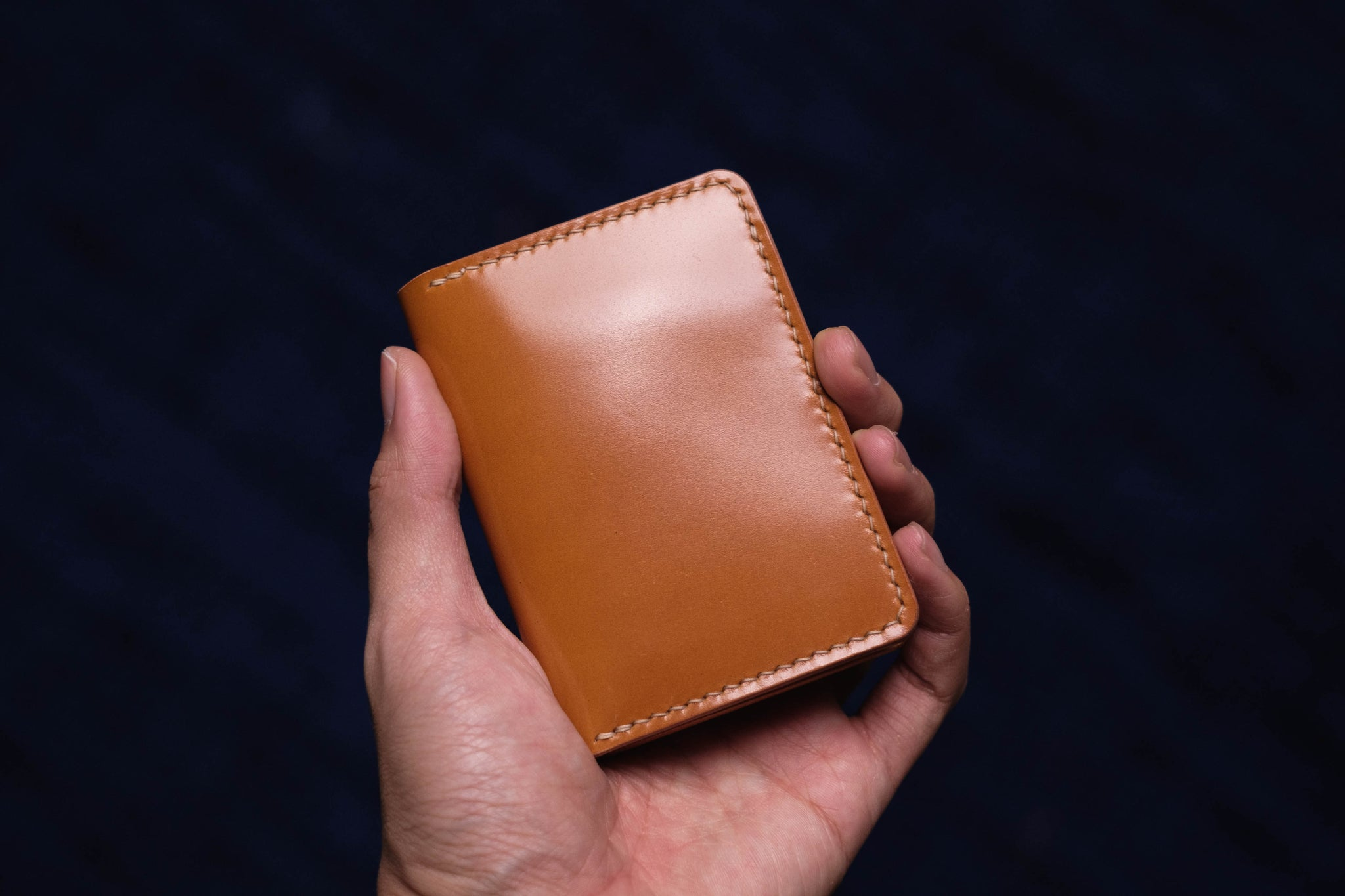 7 COLORS - Whiskey Shell Cordovan & Natural Leather 4-Slot Vertical Card Wallet