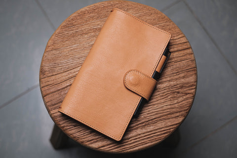 ALL SIZES - Natural Pebbled Leather Stitched Traveler's Notebook w/ Strap Closure (No inserts included)
